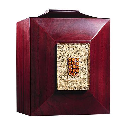 Urna funerária Veneza mogno com vidro de Murano e folha de ouro 1