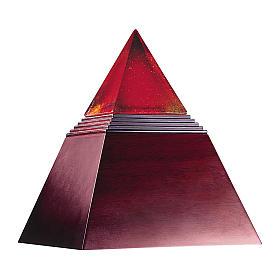 Urne cinéraire Pharoh pyramidale en acajou et verre de Murano s1