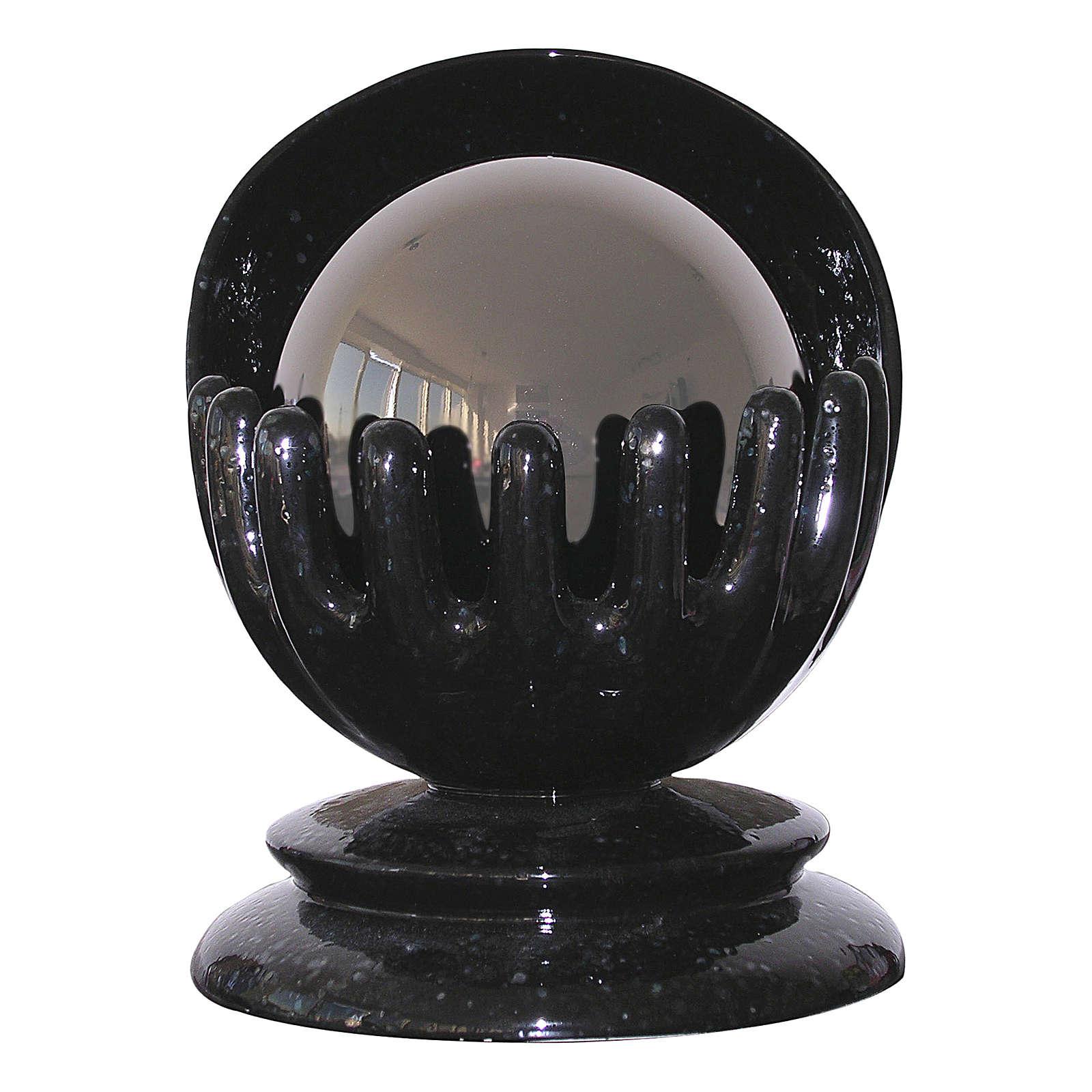 Urna funerária esférica Mãos cerâmica artística e aço 3