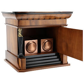 Temple funeral urn in wood and copper suitable for containing 2 urns s4