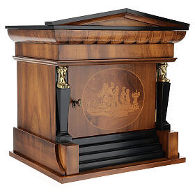 Temple funeral urn in wood and copper suitable for containing 2 urns s5