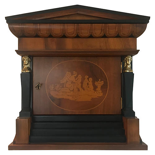 Temple funeral urn in wood and copper suitable for containing 2 urns 1