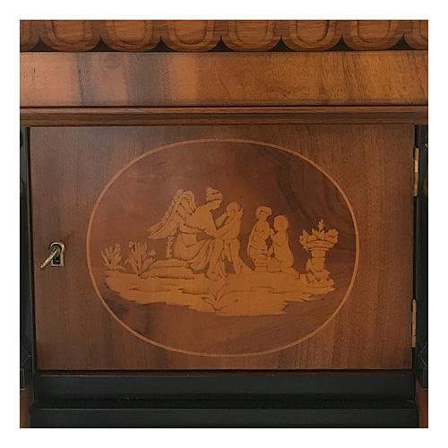 Temple funeral urn in wood and copper suitable for containing 2 urns 2