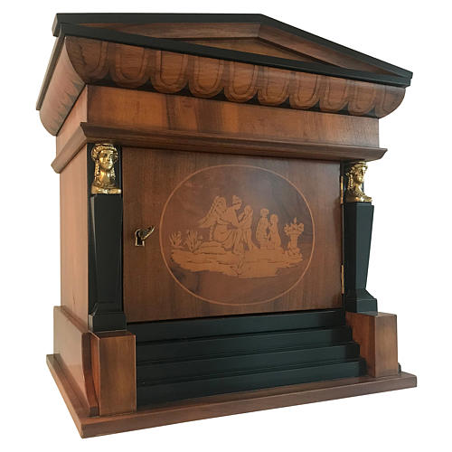 Temple funeral urn in wood and copper suitable for containing 2 urns 4