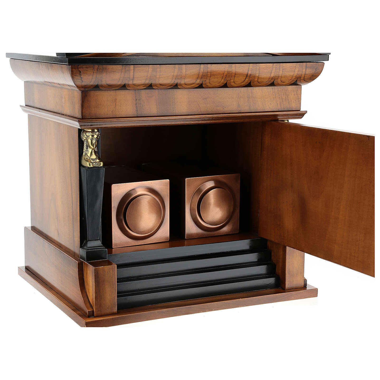 Urne cinéraire Temple acajou verni pour 2 urnes 3