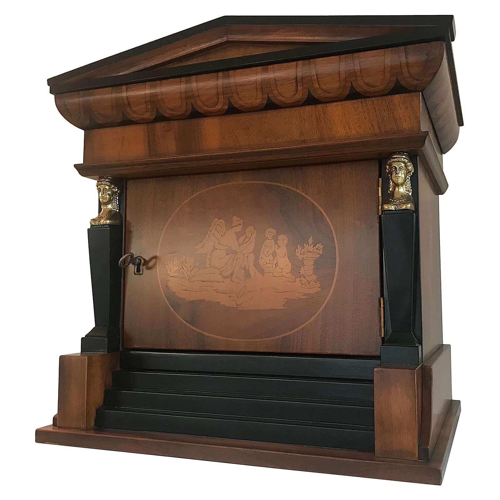 Urna funerária Templo mogno envernizado para 2 urnas 3