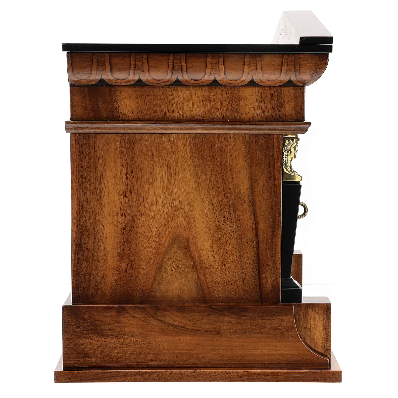 Temple cremation urn, in varnished mahogany for 2 urns 3