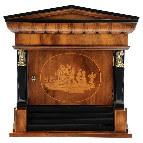 Temple cremation urn, in varnished mahogany for 2 urns 1