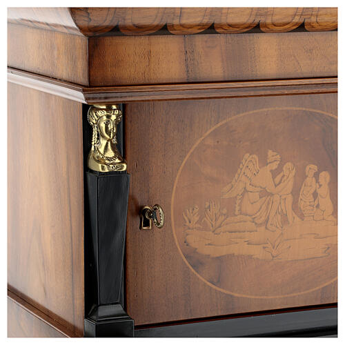 Temple cremation urn, in varnished mahogany for 2 urns 6