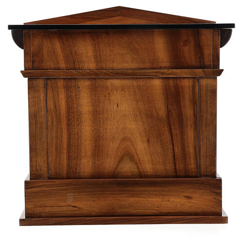 Temple cremation urn, in varnished mahogany for 2 urns 11