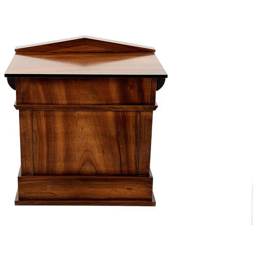 Temple cremation urn, in varnished mahogany for 2 urns 12
