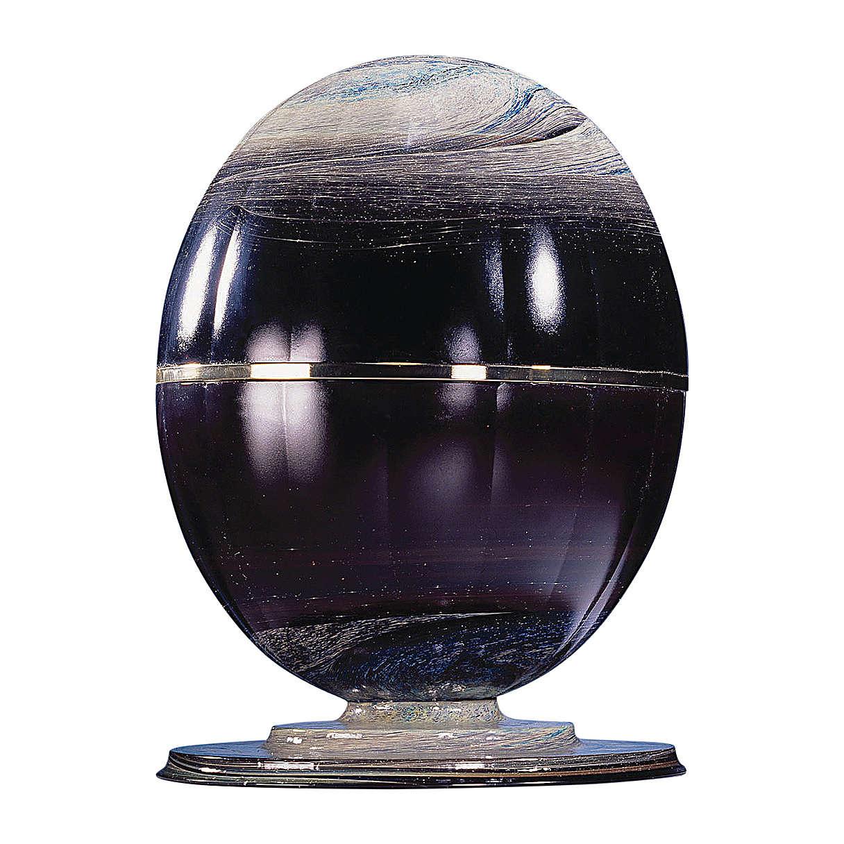 Urna cineraria Meteorito vidrio de murano y esfera de acero 3