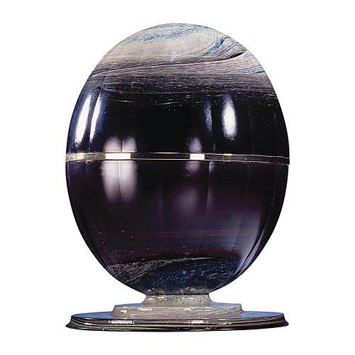 Urna cineraria Meteorito vidrio de murano y esfera de acero 1