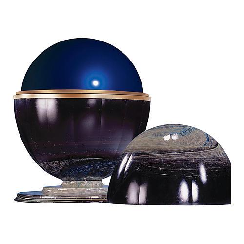 Urna cineraria Meteorito vidrio de murano y esfera de acero 2