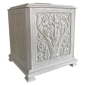 Urna cineraria Renaissance quadrata polvere di marmo levigata s2