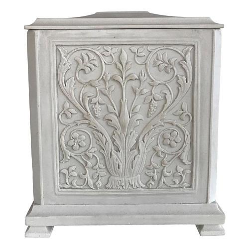 Urna cineraria Renaissance quadrata polvere di marmo levigata 1