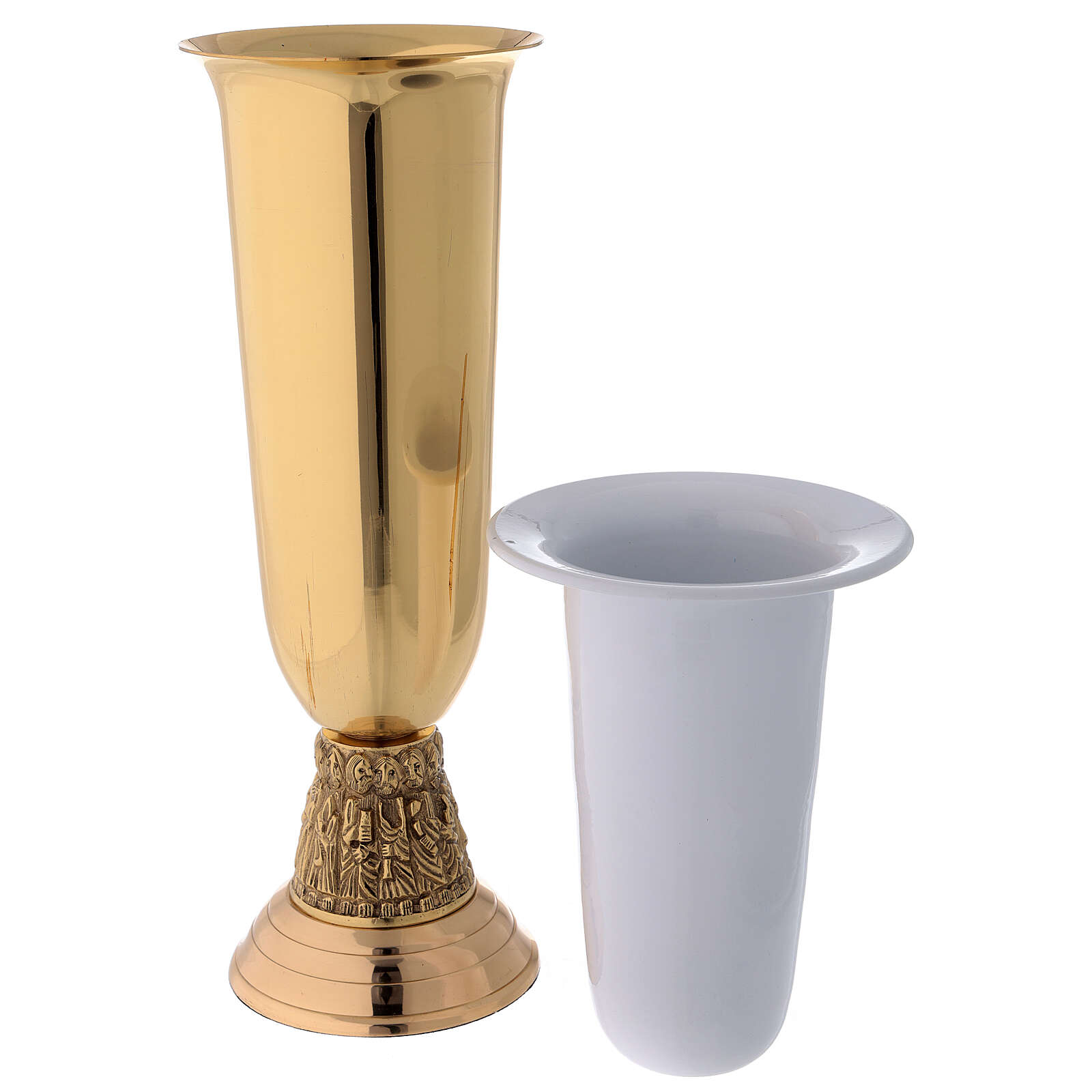 Flower vase in golden brass, steel basket with apostles 3
