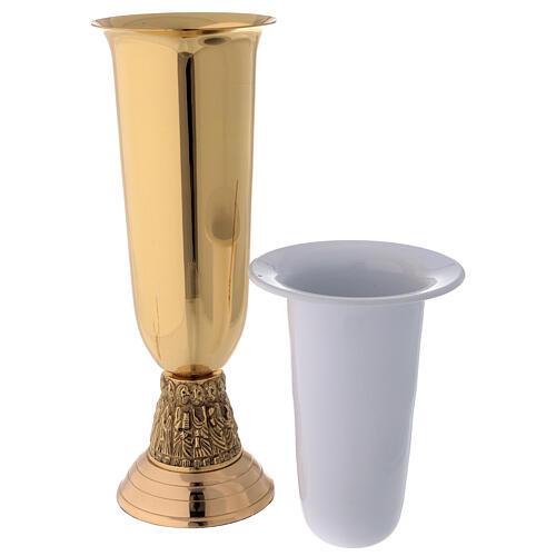 Flower vase in golden brass, steel basket with apostles 2