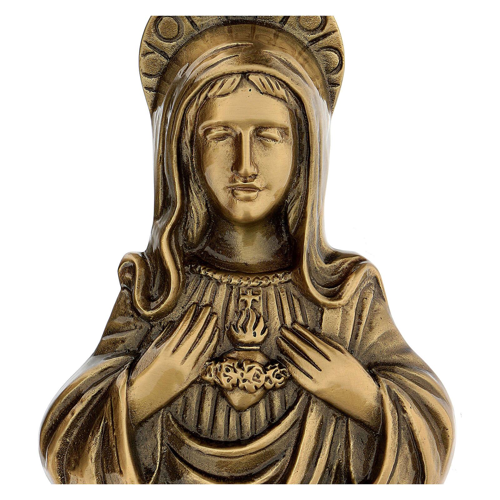 Plaque Sainte Vierge bronze satiné 20 cm pour EXTÉRIEUR 3