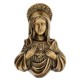 Plaque Sainte Vierge bronze satiné 20 cm pour EXTÉRIEUR s1