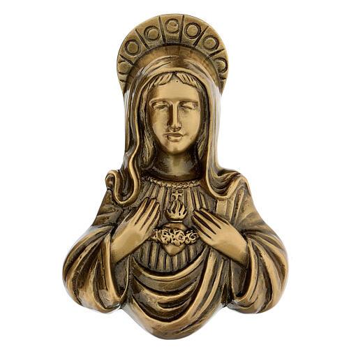 Plaque Sainte Vierge bronze satiné 20 cm pour EXTÉRIEUR 1