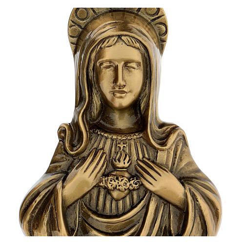 Plaque Sainte Vierge bronze satiné 20 cm pour EXTÉRIEUR 2