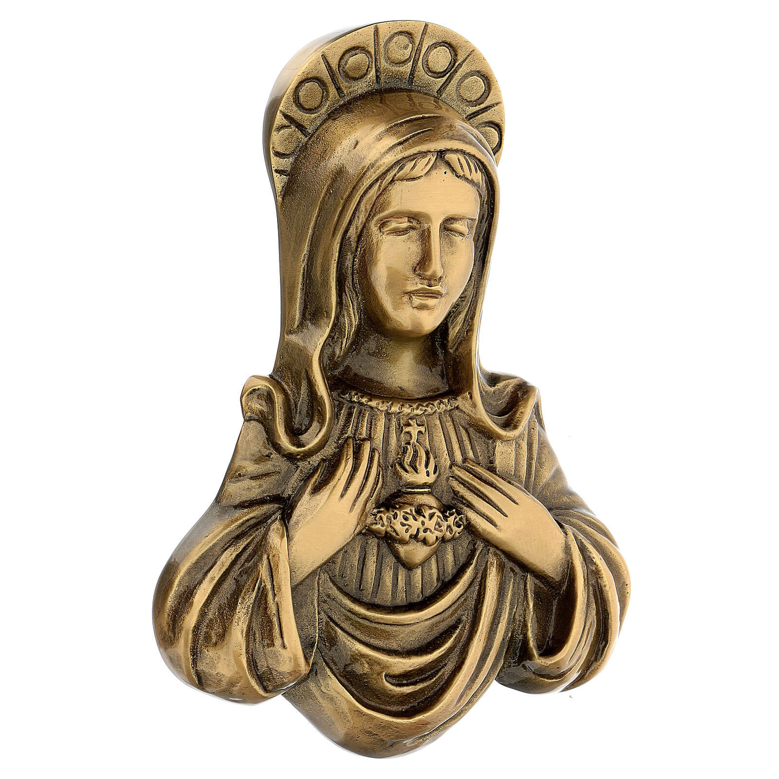 Plaque of Mary in satin bronze, 20 cm for OUTDOORS 3