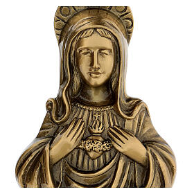 Plaque of Mary in satin bronze, 20 cm for OUTDOORS s2