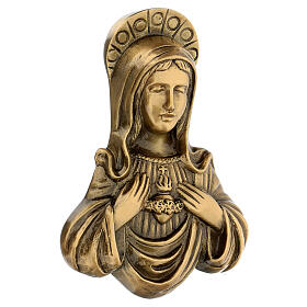 Plaque of Mary in satin bronze, 20 cm for OUTDOORS s3