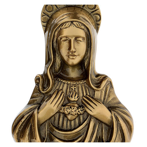Plaque of Mary in satin bronze, 20 cm for OUTDOORS 2