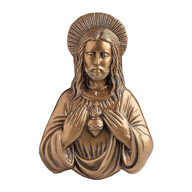Placa Sagrado Corazón Jesús bronce 33 cm para EXTERIOR 3