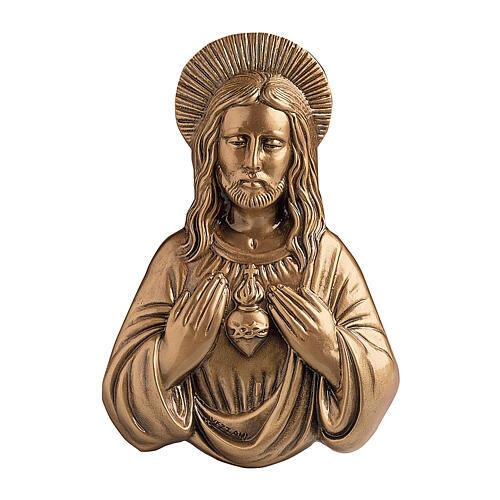 Placa Sagrado Corazón Jesús bronce 33 cm para EXTERIOR 1