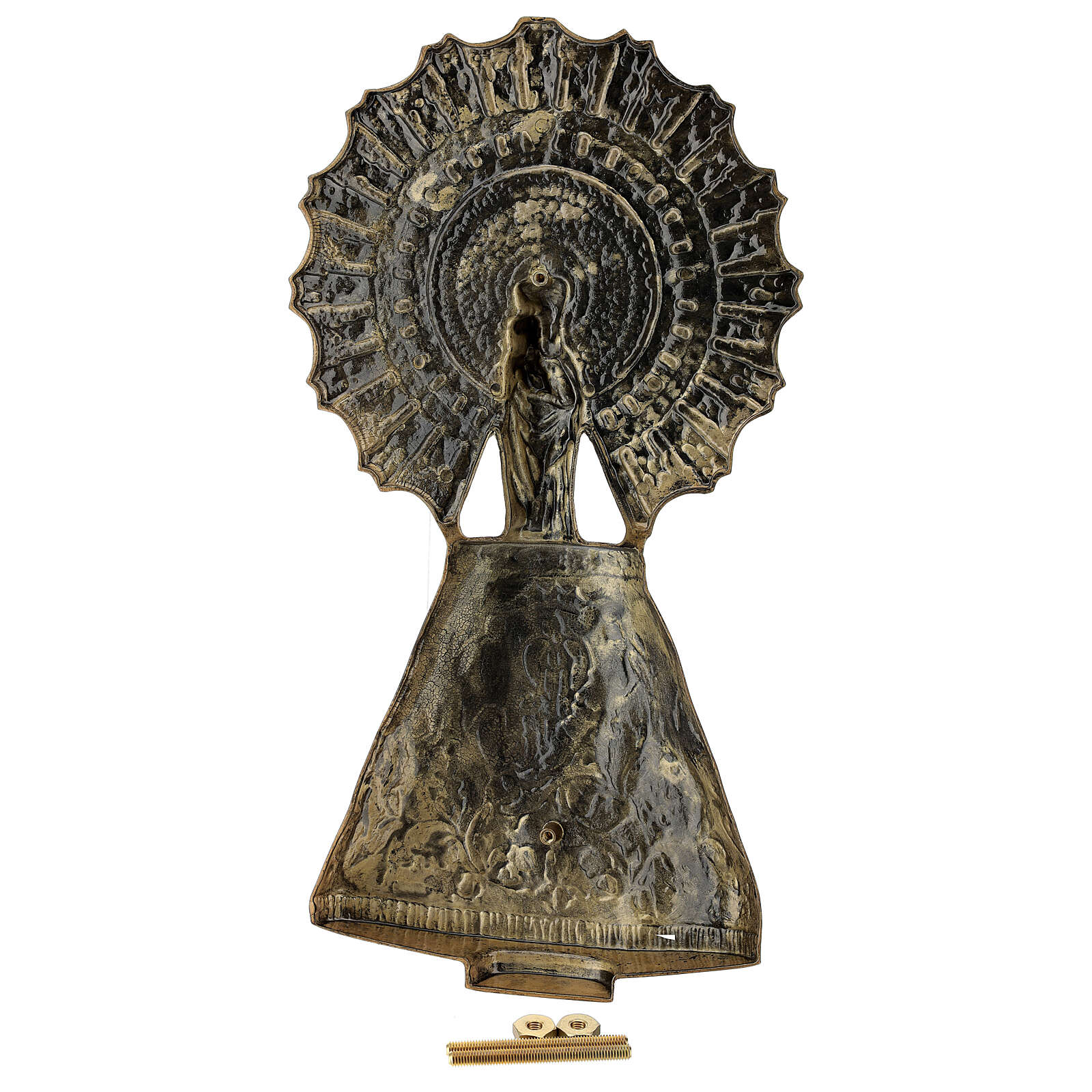 Bronze plaque showing the Our Lady of Pilar 43 cm for EXTERNAL use 3