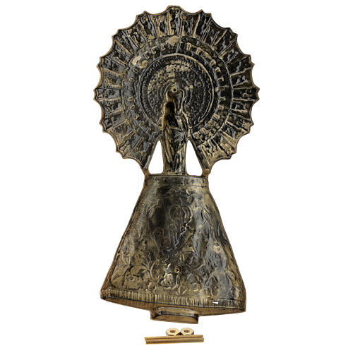 Our Lady of Pilar plaque, in bronze 43 cm for OUTDOORS 6
