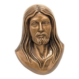 Face of Christ plaque, in bronze 19 cm for OUTDOORS s1