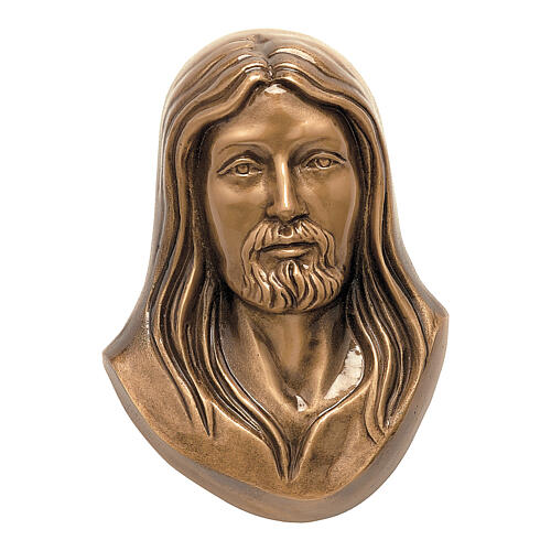 Face of Christ plaque, in bronze 19 cm for OUTDOORS 1