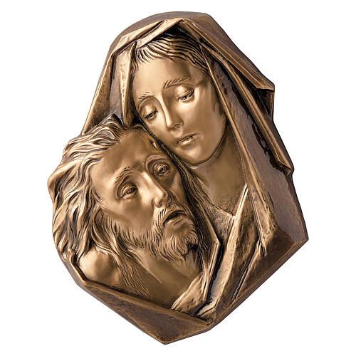 Michelangelo Pieta plaque close-up, bronze 33 cm for OUTDOORS 1