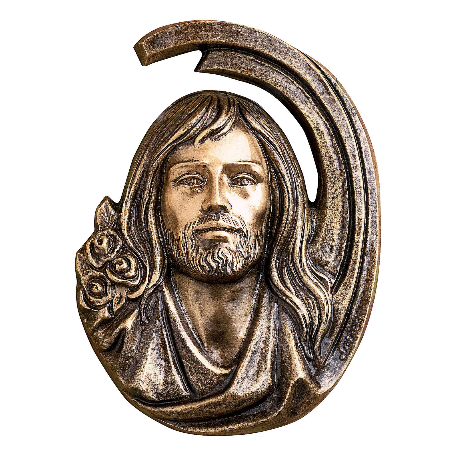 Targa dettaglio volto Gesù Cristo 36 cm bronzo per ESTERNO 3