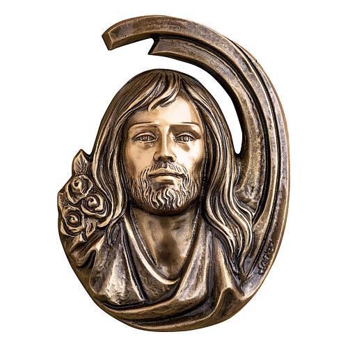 Targa dettaglio volto Gesù Cristo 36 cm bronzo per ESTERNO 1