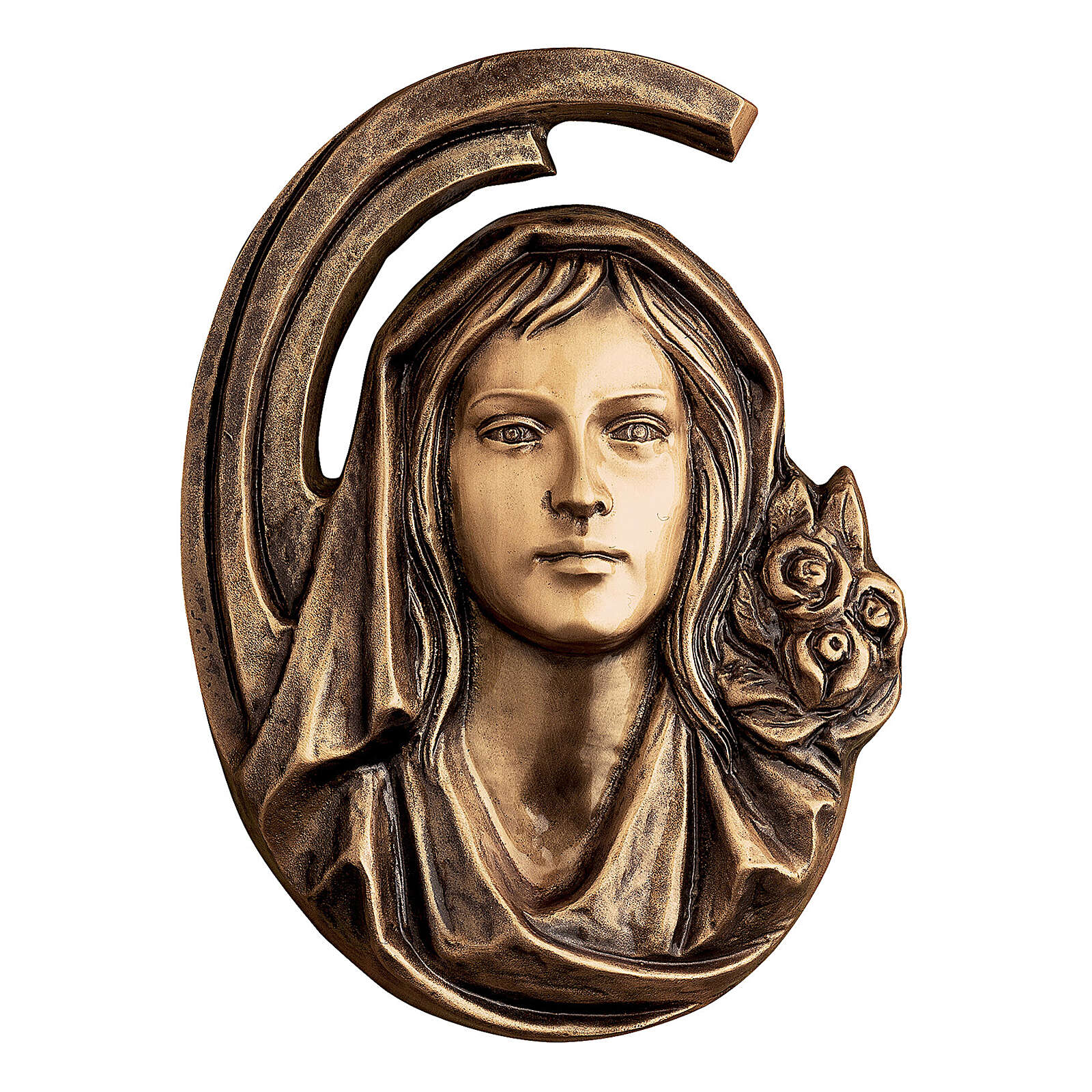 Placa rostro Virgen bronce 36 cm para EXTERIOR 3