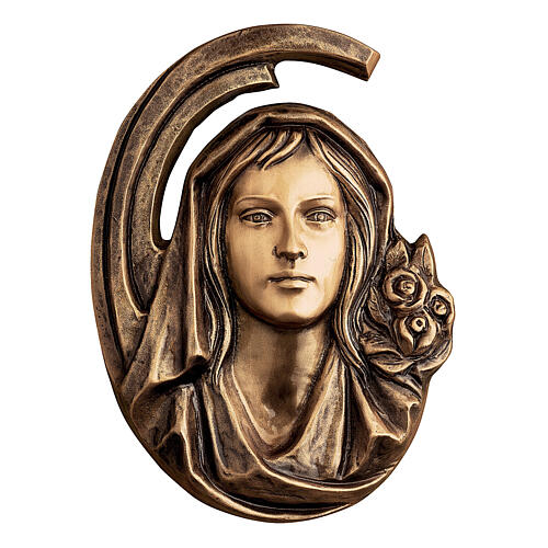 Placa rostro Virgen bronce 36 cm para EXTERIOR 1