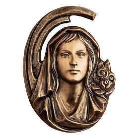 Targa volto Madonna bronzo 36 cm per ESTERNO s1