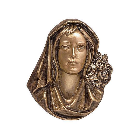 Placa funeraria bronce rostro Virgen 26 cm para EXTERIOR 3