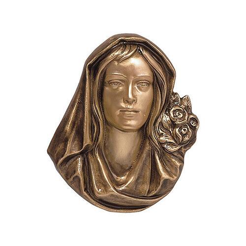 Targa funeraria bronzo volto Madonna 26 cm per ESTERNO 1