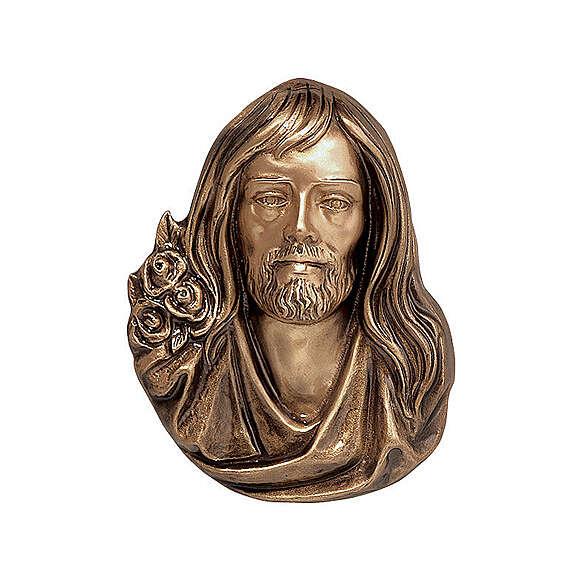 Placa rostro Jesús 26 cm bronce para EXTERIOR 3