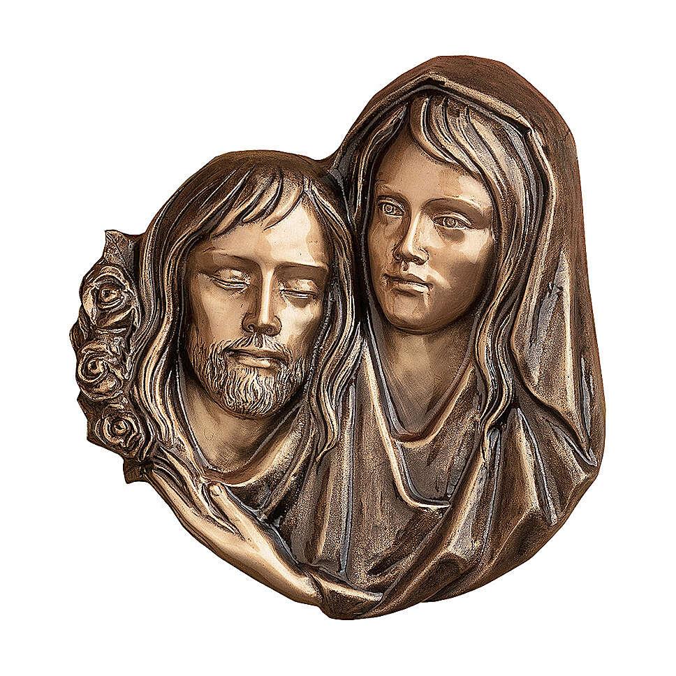Targa funeraria bronzo Pietà di Cristo 32 cm per ESTERNO 3