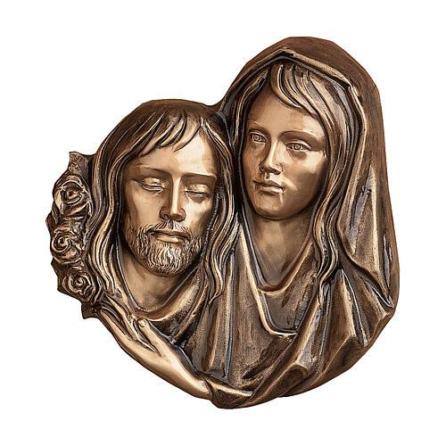 Targa funeraria bronzo Pietà di Cristo 32 cm per ESTERNO 1