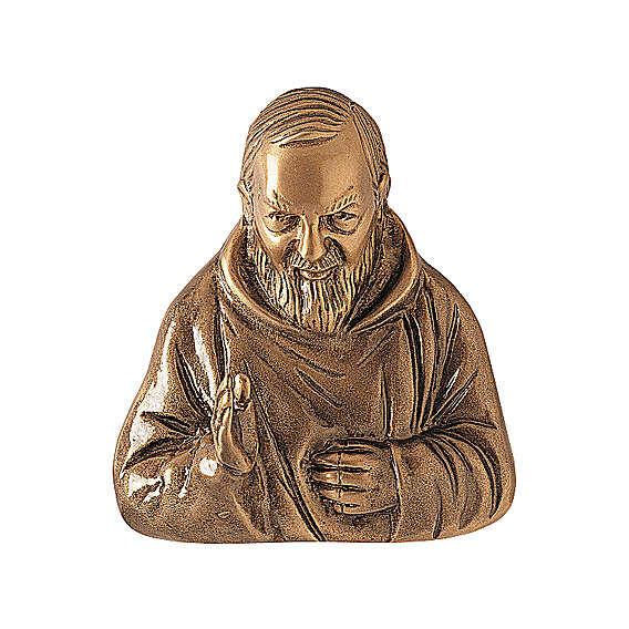 Plaque bronze Padre Pio 20 cm pour EXTÉRIEUR 3