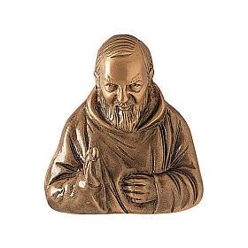 Plaque bronze Padre Pio 20 cm pour EXTÉRIEUR s1