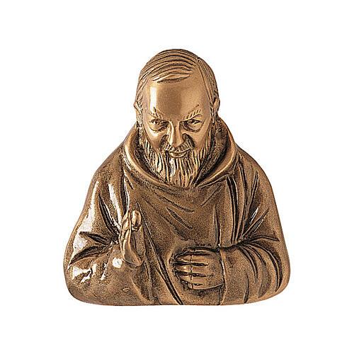 Plaque bronze Padre Pio 20 cm pour EXTÉRIEUR 1